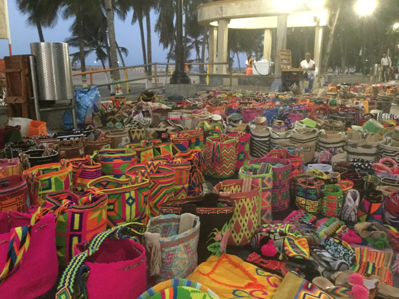 Wayuu mochilas found everywhere on the beach boardwalk
